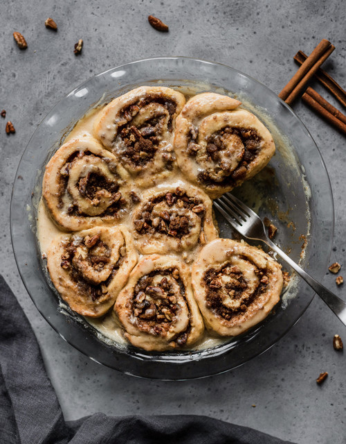 Glazed brown butter maple pecan cinnamon buns