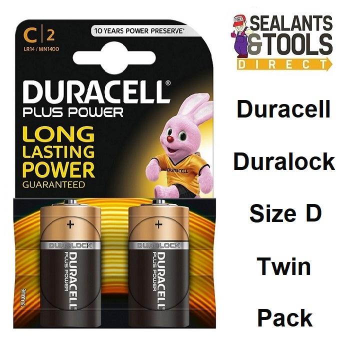 DURACELL Duralock Size D Alkaline Plus Battery Twin Pack MN1300