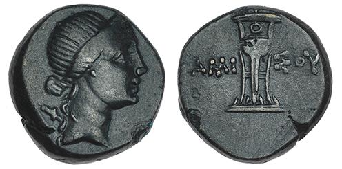 AE18 de Amisos (Pontos). Artemis a derecha. AMI-ΣOY. Trípode. FOTOS-SUBASTA