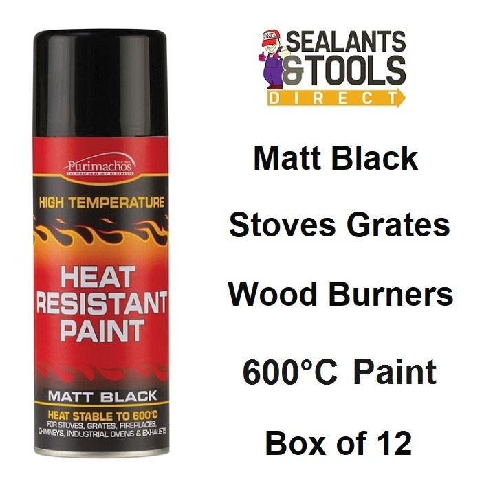 Everbuild Heat Resistant Matt Black Paint Spray 400ml Box of 12