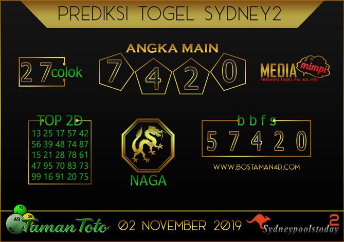 Prediksi Togel SYDNEY 2 TAMAN TOTO 02 NOVEMBER 2019
