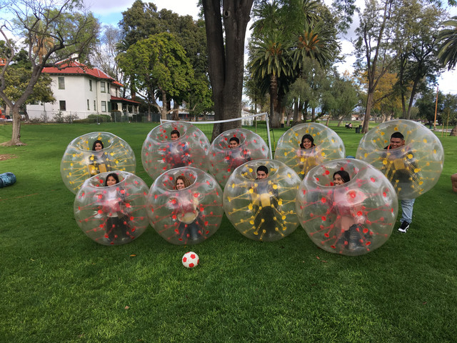 Bubble Soccer and Nerf Gun Party in La Mirada for Myra serviced by AirballingLA.