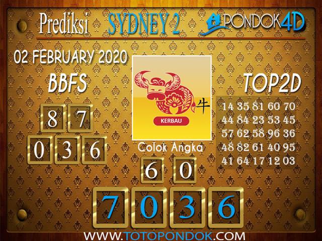 Prediksi Togel SYDNEY 2 POND1OK4D 02 FEBRUARY 2020