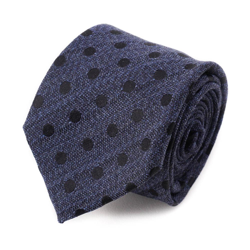 New $225 BATTISTI NAPOLI Handmade Navy Blue and White Dot Pattern Silk Tie
