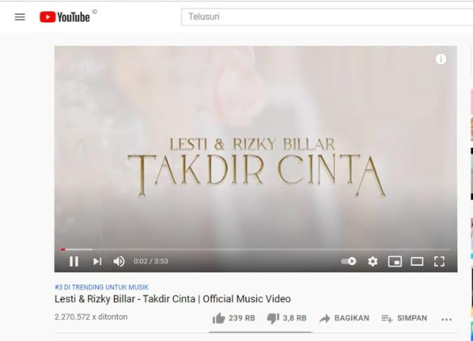 Lagu Takdir Cinta Lesti Kejora dan Rizky Billar trending nomor 3 di YouTube Indonesia