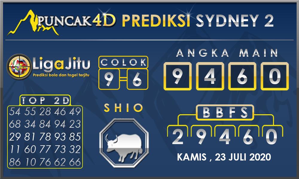 PREDIKSI TOGEL SYDNEY2 PUNCAK4D 23 JULI 2020