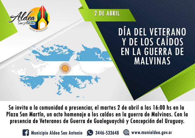 Provinciales: Aldea San Antonio: Honor y gloria a nuestros Héroes de Malvinas