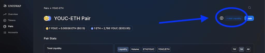 Provide liquidity to YOUC pool