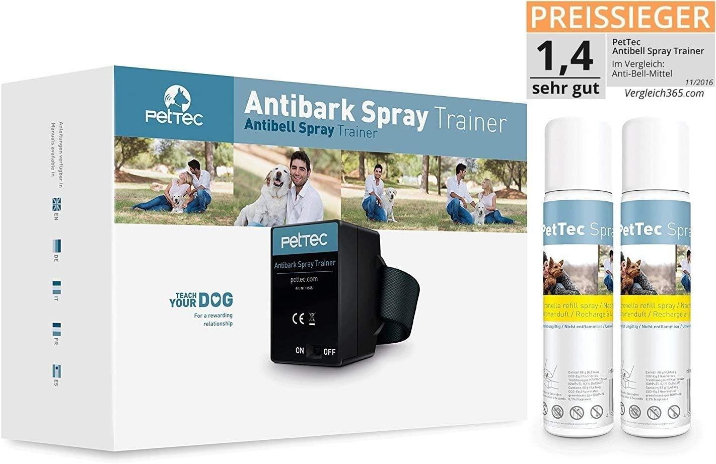 PetTec Collar de Perro con Spray Automático Entrenador Anti Ladridos, de Entrenamiento Inmediato e Inofensivo, Seguro para Perros y Personas + 2 Latas de Repuesto y Pilas Incluidas (Citronela)
