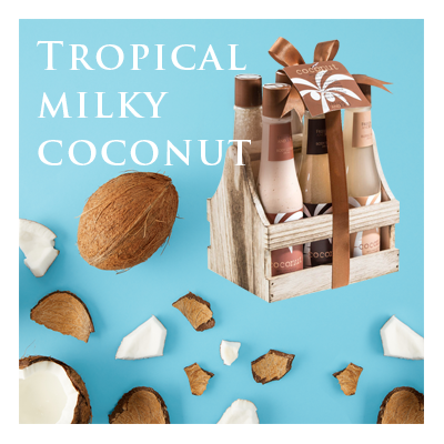 Bath Body and Spa Gift Sets in Relaxing Tropical Milky Coconut Fragrance Perfect for Women