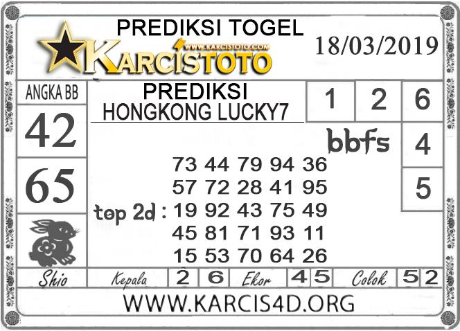 Prediksi Togel HONGKONG LUCKY 7 KARCISTOTO 18 MARET 2019