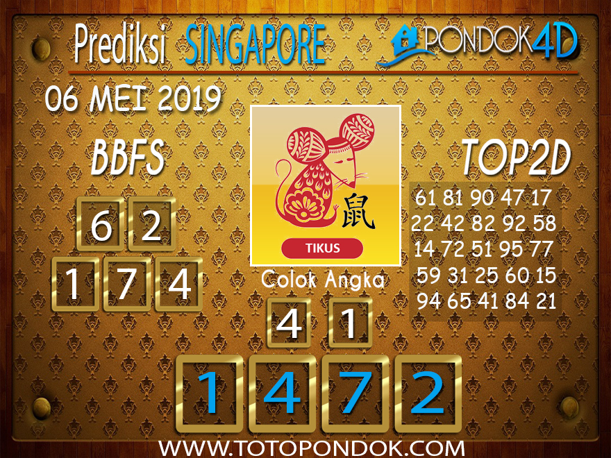 Prediksi Togel SINGAPORE PONDOK4D 06 MEI 2019