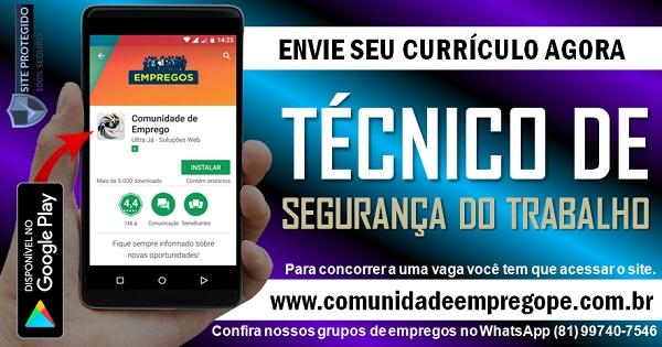 TÉCNICO DE SEGURANÇA DO TRABALHO COM SALÁRIO R$ 2495,00 PARA TRANSPORTADORA