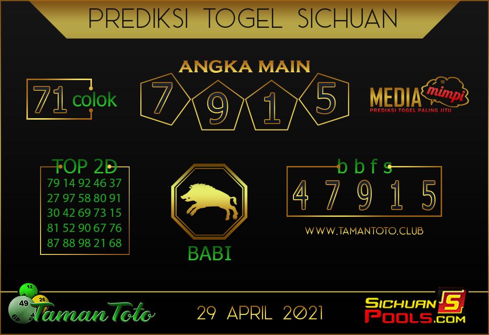 Prediksi Togel SICHUAN TAMAN TOTO 29 APRIL 2021