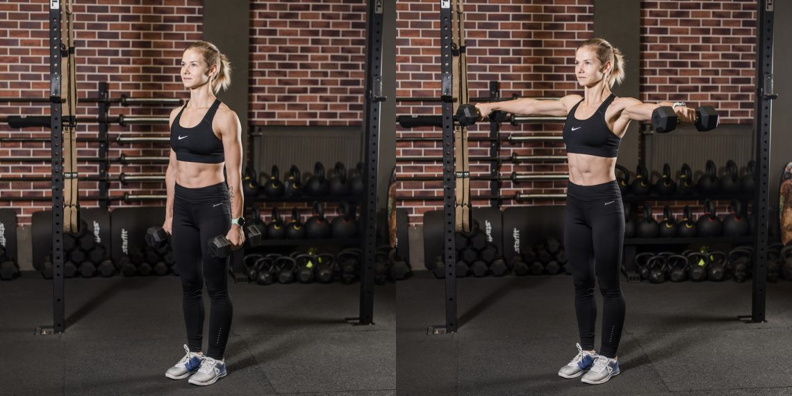 dumbbells to the sides