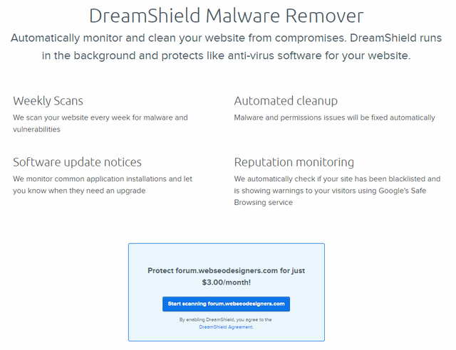Dreamhost DreamShield Malware Remover Spam