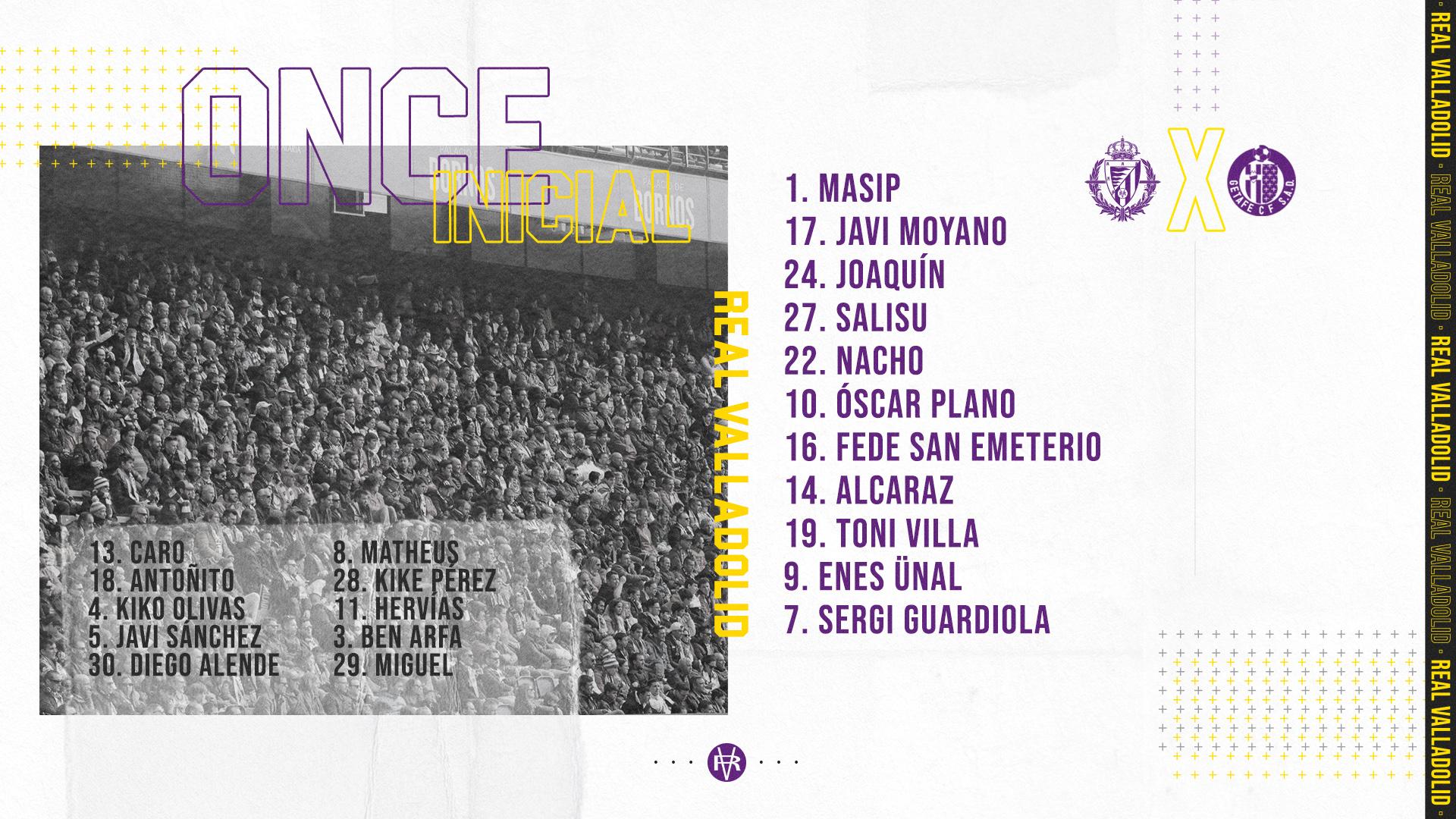 Real Valladolid C.F. - Getafe C.F. Martes 23 de Junio. 19:30 Alineacion-Getafe