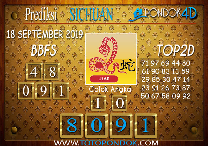 Prediksi Togel SICHUAN PONDOK4D 18 SEPTEMBER 2019