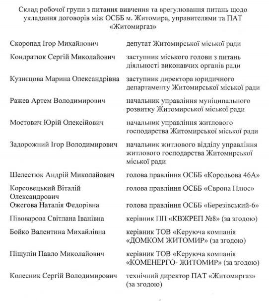 sfs - Мер створив робочу групу, яка вичитає і відкоригує договори між ОСББ та «Житомиргазом»