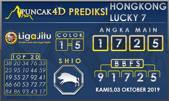 PREDIKSI TOGEL HONGKONG LUCKY7 PUNCAK4D 03 OKTOBER 2019