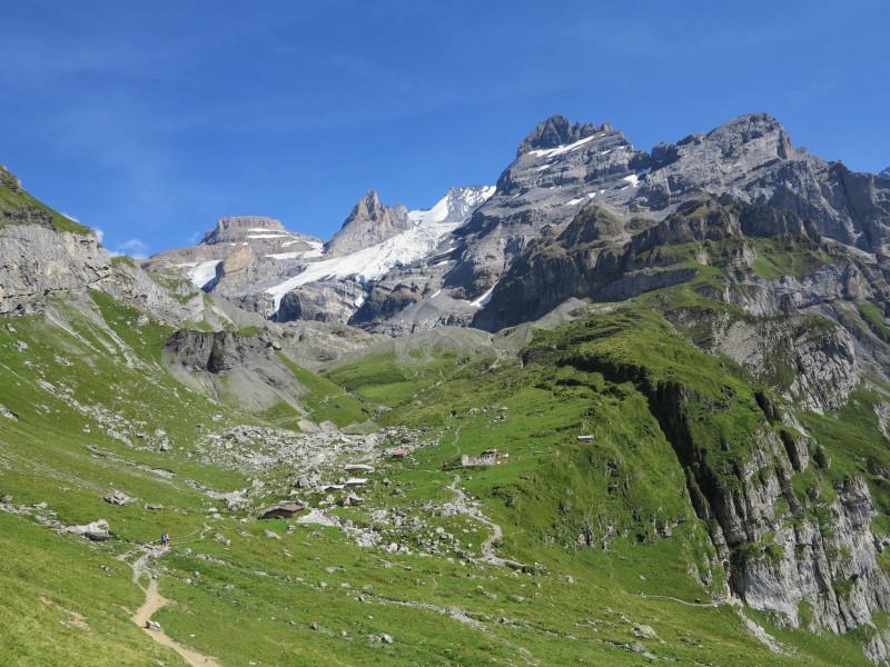 Rocks, glacier, cabins...