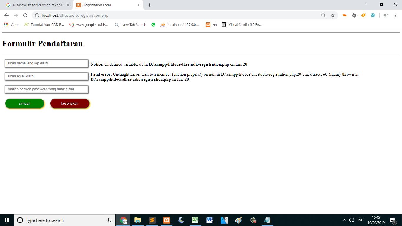 Membuat form register dengan php -registrtation.php