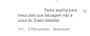 """Padre Fábio de Melo faz tatuagem e recebe críticas na internet; """"isso é coisa do diabo"""" 2"""