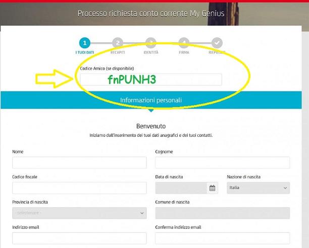 Unicredit: Conto gratis + 180€ di bonus + 75€ per ogni amico invitato Inserimento-codice-r