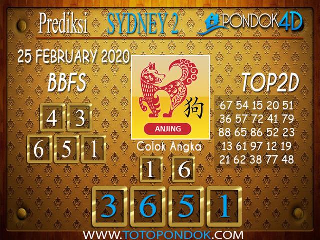 Prediksi Togel SYDNEY 2 PONDOK4D 25 FEBRUARY 2020