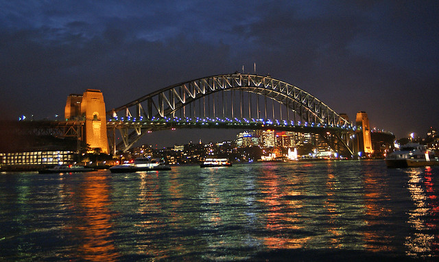 Photo of Sydney harbour bridge at night from a serviced apartment.