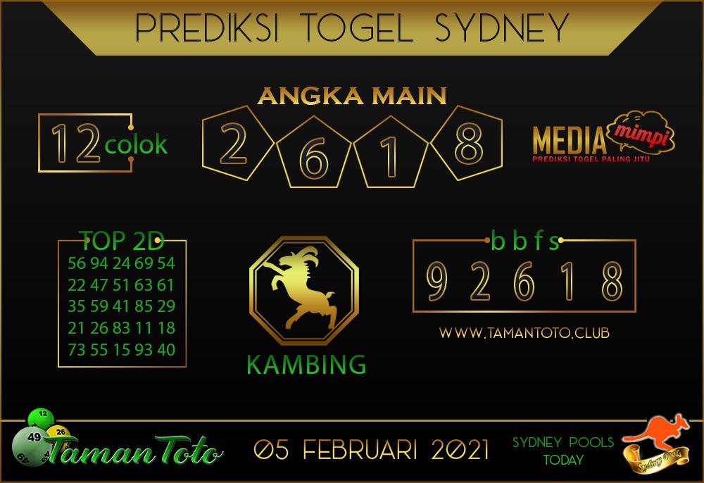 Prediksi Togel SYDNEY TAMAN TOTO 05 FEBRUARI 2021