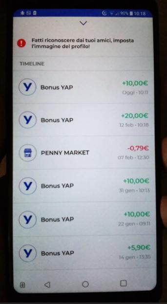 YAP L'App gratuita che ti restituisce denaro! CASHBACK RESTITUZIONE DENARO SU USO CONTO! 2019-Feb20-bonus-movimenti