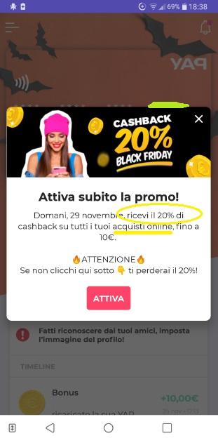YAP L'App gratuita che ti restituisce denaro! CASHBACK RESTITUZIONE DENARO SU USO CONTO! - Pagina 2 Cashback-yap-ONline-2019-Nov29