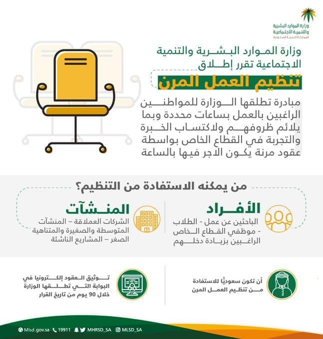 وزارة الموارد البشرية والتنمية الاجتماعية تطلق تنظيم العمل المرن