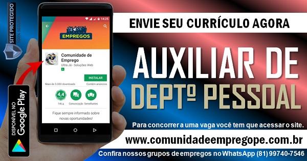 AUXILIAR DE DEPARTAMENTO PESSOAL PARA EMPRESA DE CONSTRUÇÃO CIVIL