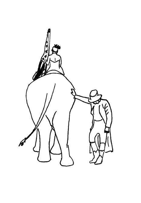 Line drawing in black: A figure in a headpiece wearing a halter dress and carrying an American flag is riding away on the back of an elephant. Another figure in a top hat, long coat, and high boots has a hand on the elephant's side and a lowered head