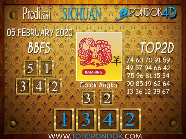 Prediksi Togel SICHUAN PONDOK4D 05 FEBRUARY 2020