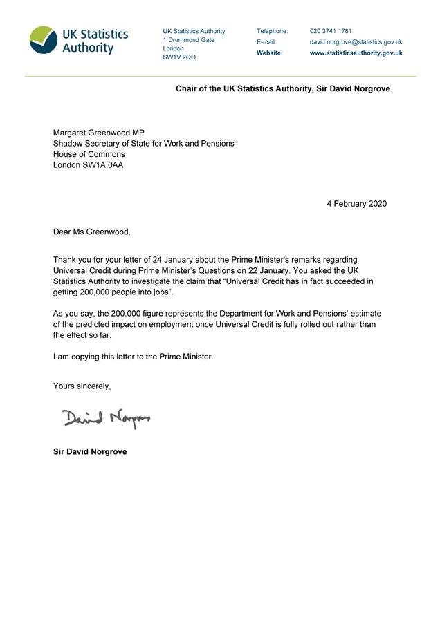 Image result for david norgrove letter to boris johnson UNiversal Credit