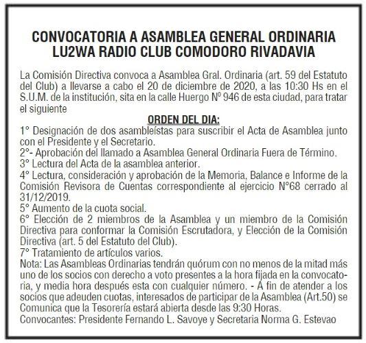 Asamblea General Ordinaria 2020 RCCR