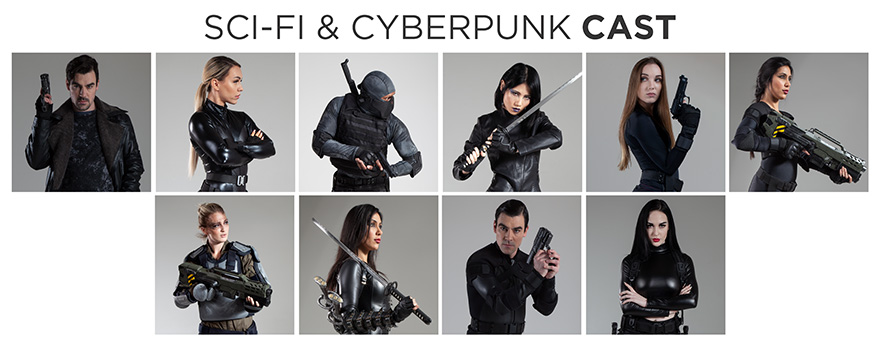 scifi and cyberpunk stock photo bundle cast members