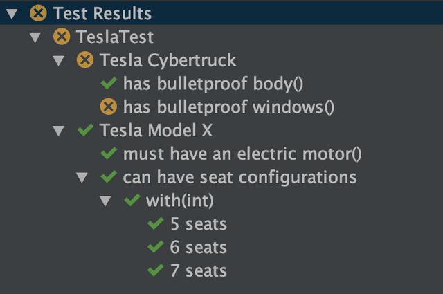 Eksempel på hvordan tester vises i IntelliJ
