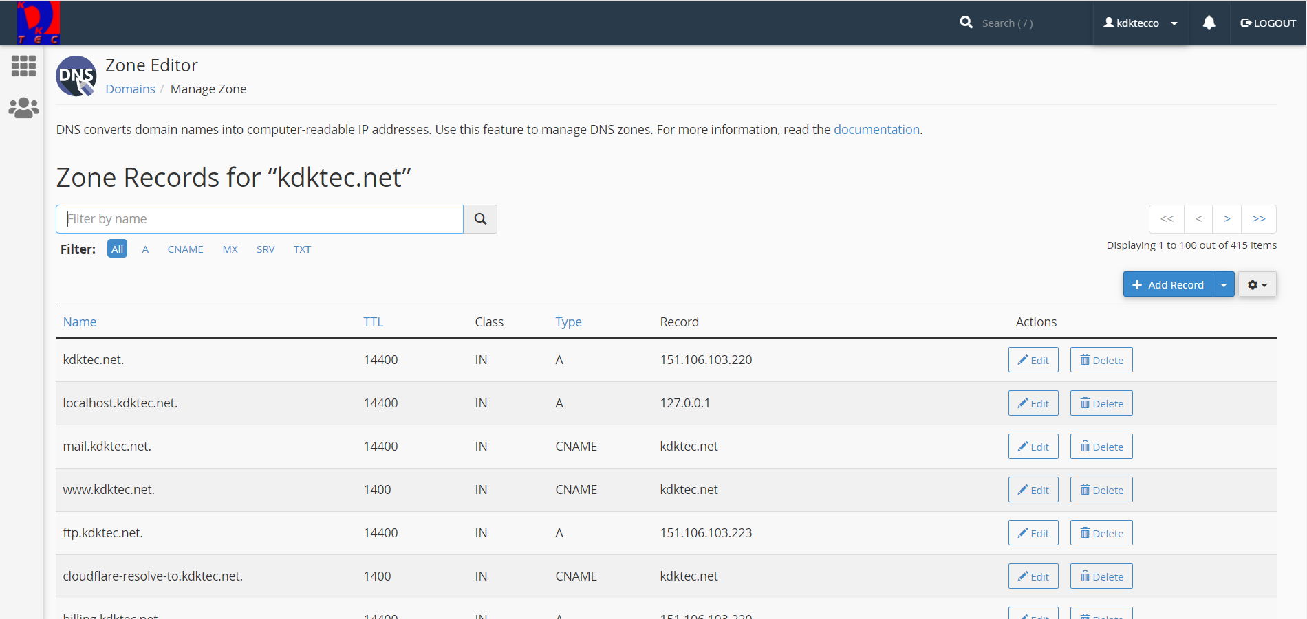 Screenshot of cPanel DNS Zone Editor for Subdomains