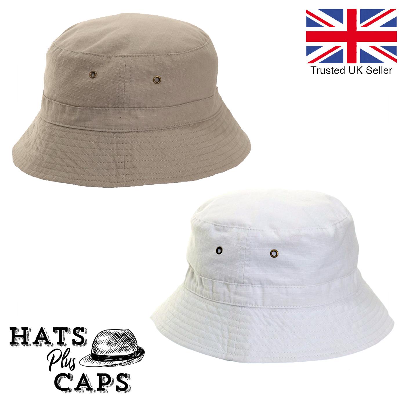 Men /& Women/'s Bush Bucket Sun Hat with Added Pocket Summer Cotton Cap New