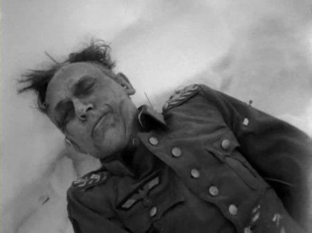 Dead Wehrmacht soldier in the snowy steppes near Korsun-Shevchenkovsky.