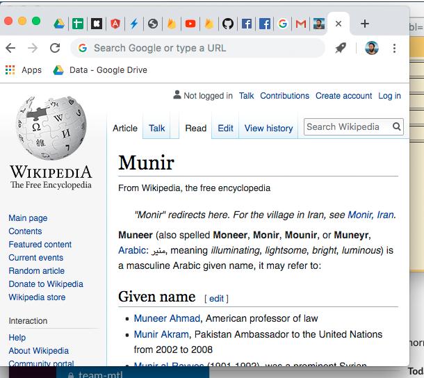 Munir sur Wikipedia (juin 2019)