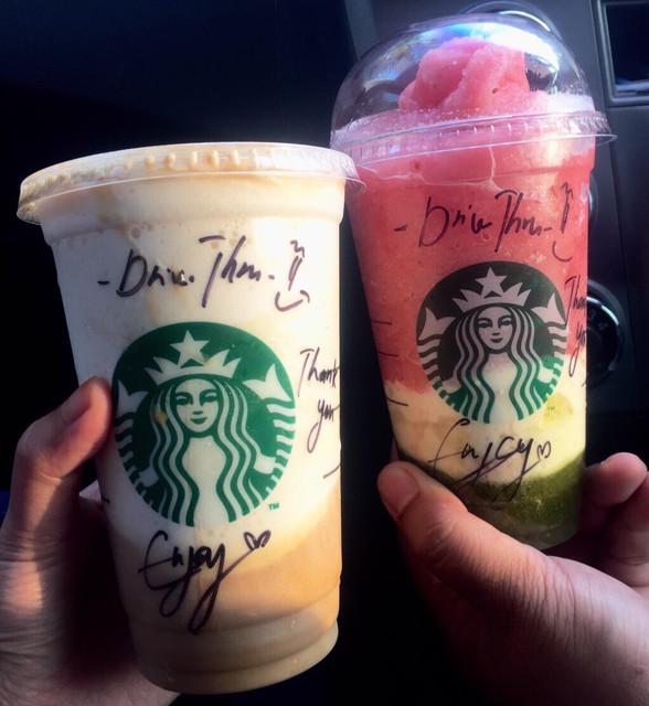 Caramel Macchiato Frappucino, Watermelon Lychee Aloe Frappucino, Starbucks, Starbucks Malaysia, Starbucks Mesamall Nilai, Starbucks Drive Thru