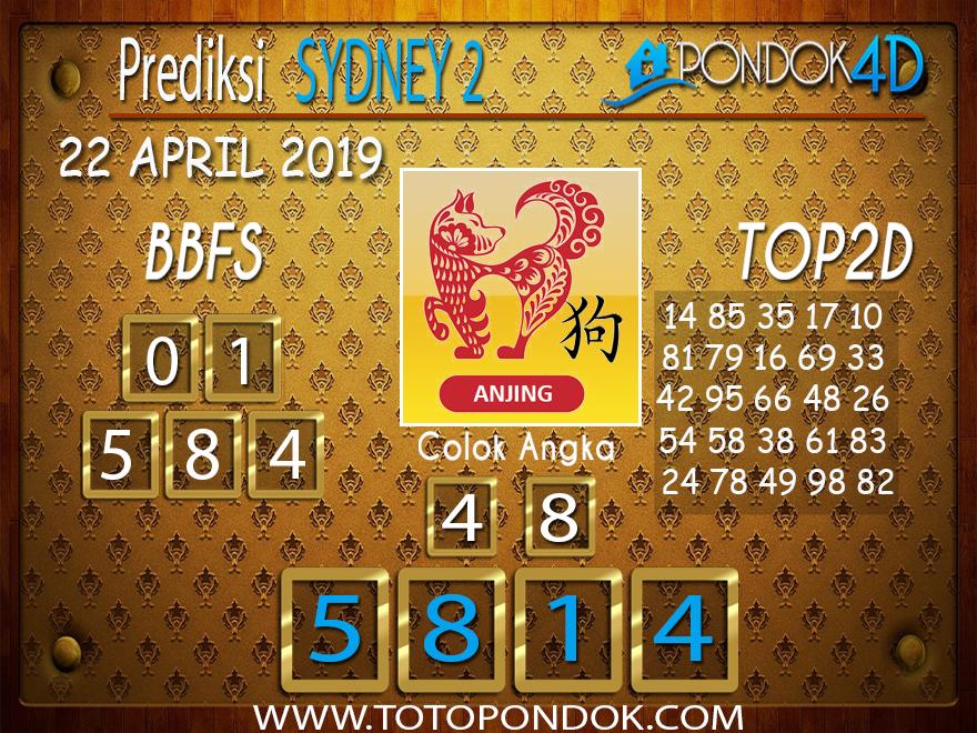 Prediksi Togel SYDNEY 2 PONDOK4D 22 APRIL 2019