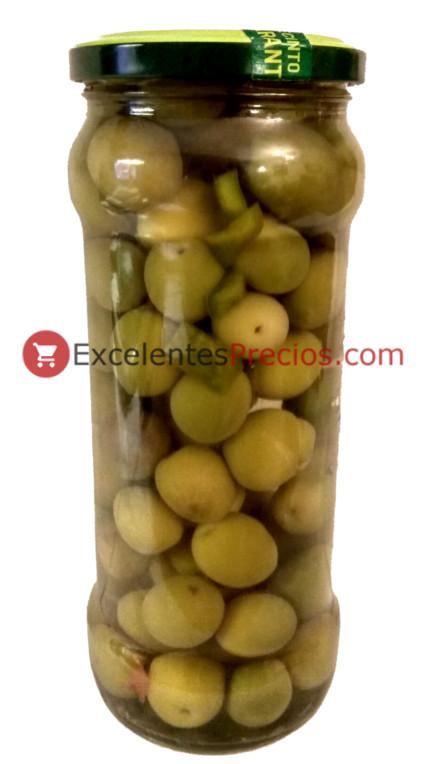 Aceitunas verdes aliñadas con vinagre y pimiento, tarro de encutridos