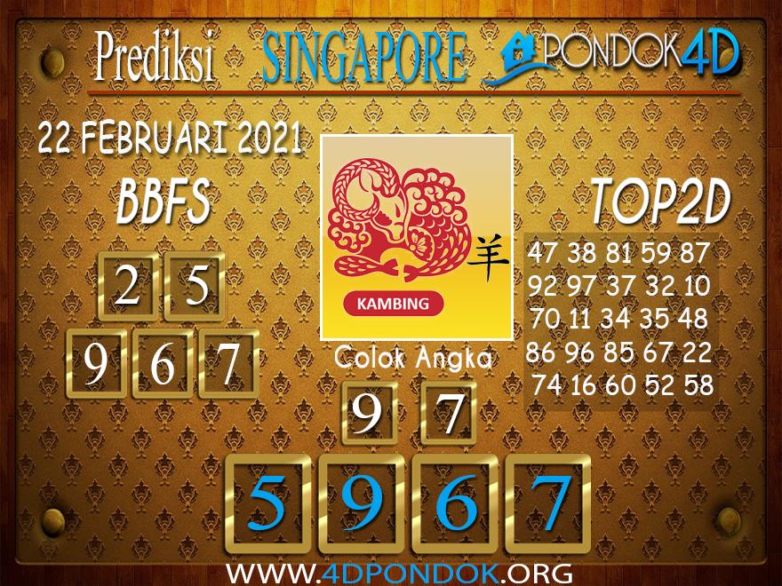 Prediksi Togel SINGAPORE PONDOK4D 22 FEBRUARI 2021
