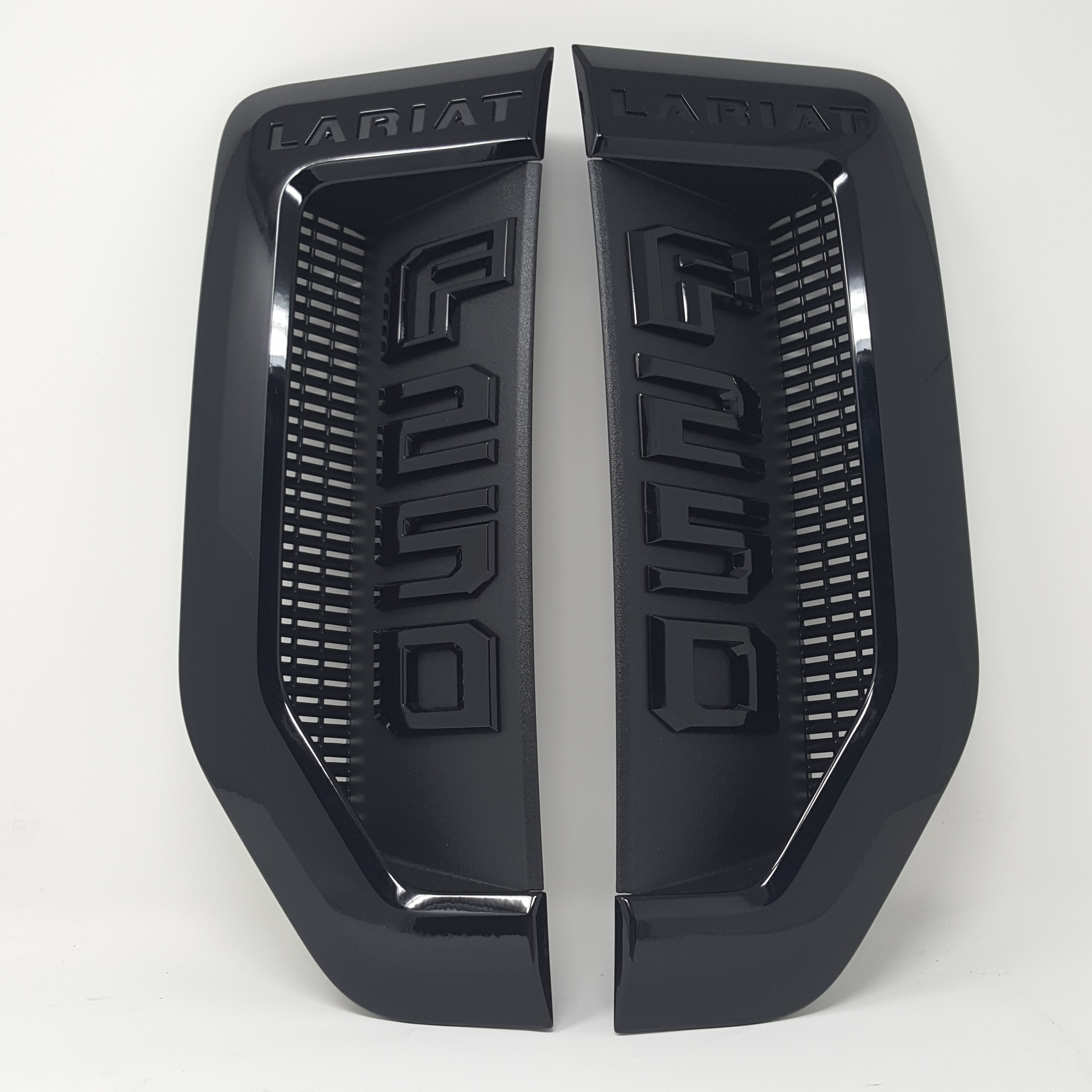3x OEM Black F-250 XLT Super Duty Side Fender Emblems for Ford F250 XLT W Red